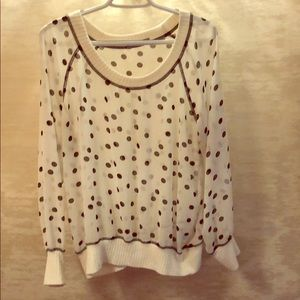 White sheer polka dotted blouse